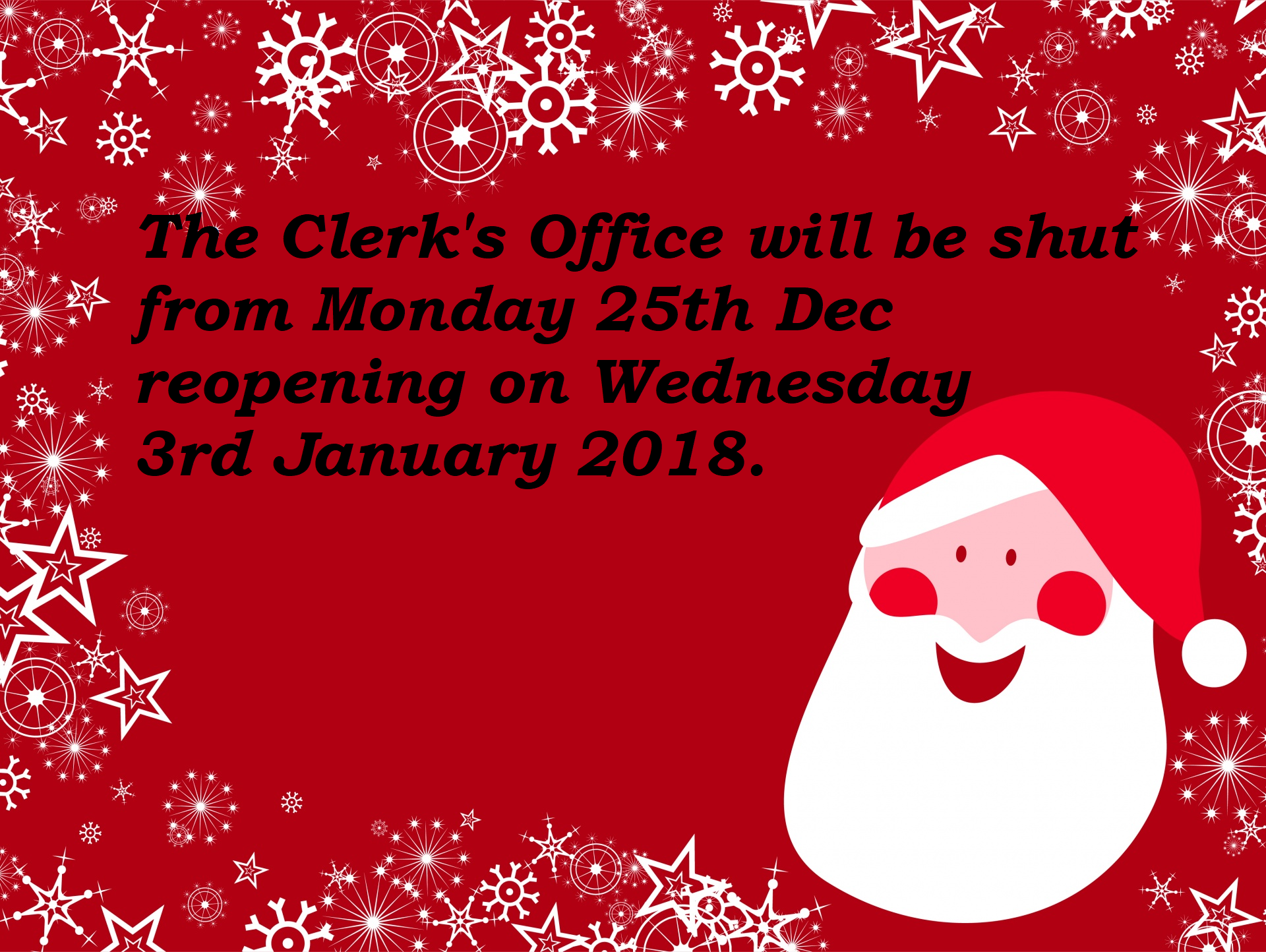 Christmas Opening Hours.Halesworth Town Council Christmas Opening Hours
