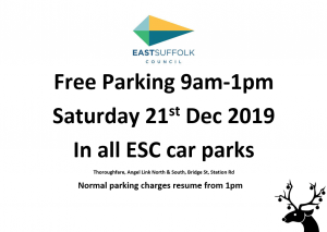 Free Parking 9am-1pm @ All East Suffolk Car Parks